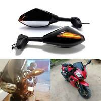 For Honda CBR 600 F3 F4 F4i Motorcycle Rearview Mirrors LED Turn Signals Light Q