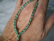 Zambian Emerald necklace, 8.79 carats, 9.49 grams of 925 Sterling Silver, 18.5 i