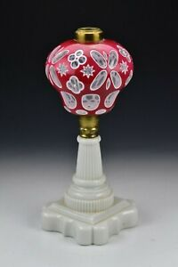 19th Century Boston Sandwich Glass Cranberry & White Double Cut Overlay Lamp