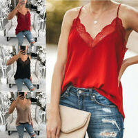 Women Loose V Neck Causal Holiday Sleeveless T-Shirt Strappy Lace Trim Vest Tops