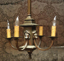 ANTIQUE ARTS CRAFT GOTHIC 4 ARM CANDLE LIGHT ELECTRIC CHANDELIER MAN  MONK FACE