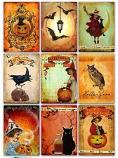 9 Halloween Vintage Atc Cards Hang Tags Scrapbooking Paper Crafts (108)