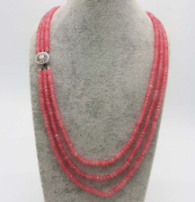 AAA++ 2x4mm Faceted Natural 3 Row Pink Morganite Faceted Beads Necklace 17-19''