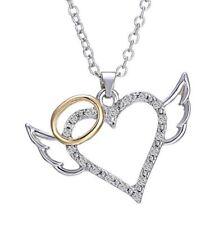 collier pendentif coeur avec ailes d'ange et auréole strass cristal blanc.