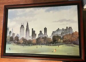 """Adolf Dehn """"Autumn Afternoon In Central Park"""" Lithograph"""