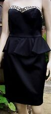 NEW LOOK Black Satin Gem Embellished Peplum Party Cocktail Dress Size 12 BNWT