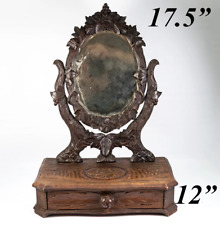 "Antique HC Black Forest 17.5"" Tall Vanity Stand, Mirror & Drawer (12"")"