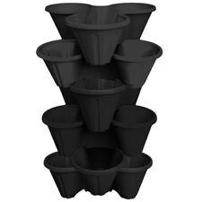 6 x Strawberry Planter Trio Stacking Stackable Garden Plastic Plant Pot BLACK