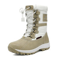 Women's Insulated Waterproof Warm Faux Fur Snow Boots Lace Up Outdoor Miid Calf