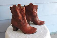 Women's Frye Carson Tab Mid Heel Short Boots 76463 Leather Cognac Size 8.5