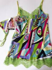 Shirley of Hollywood Women Pure Silk M L Green Retro Camisole Designer Lingerie