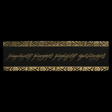 LOTR Weta Leather Bookmark The One Ring Inscription Black & Gold Even Script