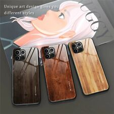 For iPhone12 11 Mini/Pro/Max/Xr/XS/ Wood Grain Tempered Glass Phone case Cover