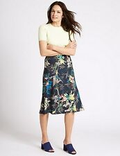 Marks and Spencer Floral Print A-Line Midi Skirt Size UK 18 LF075 OO 17