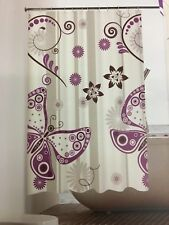 SHOWER BATHROOM CURTAIN BUTTERFLY FLOWERS 180 CM X 180CM WATERPROOF EVA VINYL