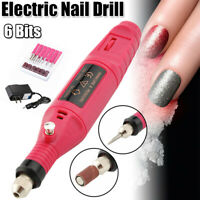 Electric Manicure Machine Nail Drill 6 Bits Set Mill Nail Art Sanding File Pink