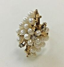 14k Yellow Gold Ring with Diamonds and Clustered Pearls   Size: 6 3/4