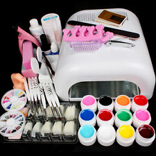 Nail Art 36W Cure Drying Lamp UV Gel False Tips Top Coat Tools Full Set DIY Kit