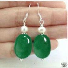 New Beautiful White Pearl Natural Green Jade Silver Hook Earrings