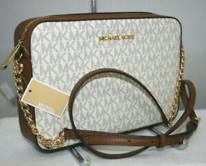 New Michael Kors Jet Set MK Signature Vanilla / Brown EW Crossbody Messenger Bag