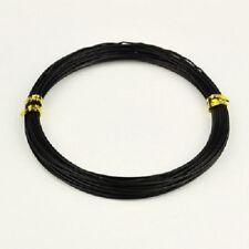 LOT de 20m - 20 mètres FIL ALUMINIUM NOIR 0,8MM perles bracelet collier bague