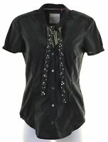 ESPRIT Womens Shirt Short Sleeve UK 14 Large Black  GQ14