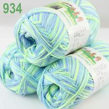 Sale New 3 Skeins x50g/230y Soft Bamboo Cotton Hand Knitting Yarn Aqua Mint 934