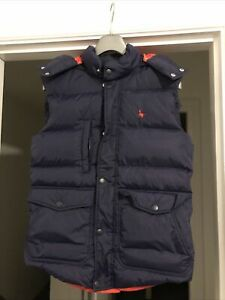 Jack Wills Mens XS Navy Red Gilet Padded Down Feathered Bubble