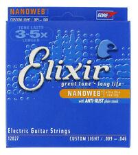 Elixir Jeu de cordes électriques Nanoweb filé rond Custom-light 9-46 - 12027