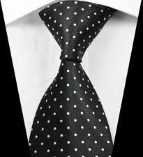 New Classic Patterns Dots Black White JACQUARD WOVEN 100% Silk Men's Tie Necktie