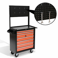 Rolling Tool Chest Cabinet Cart Toolbox Storage Box 7 Drawers Hanging Organizer