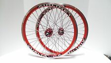 """New 20"""" Vuelta Airline 1 BMX Wheelset Single Speed Sealed Bearing Red/SS"""