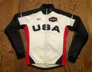 Team USA Long Sleeve Full Zip Cycling Jersey Men's Medium Made in Italy