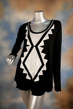 NEW KAREN KANE sequin black party cocktail tunic blouse top shirt SZ: M