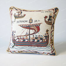 """Jacquard Weave Medieval Tapestry Pillow Cushion Cover - Bayeux 18""""x18"""", UK"""