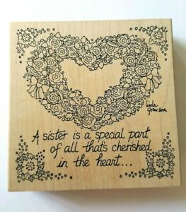 Stamps Happen Heart Floral Sister Is A Special Part Wooden Mounted Rubber Stamp