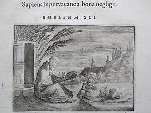 Schoonhovius Emblemata Emblem Philosopher Diogenes - 1648