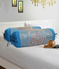 Indian Long Round Pillow Yoga Massage Bolster Beige Cylinder Silk Cushion Cover