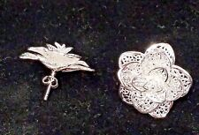 Silver Filigree 3D Rose Post Earrings