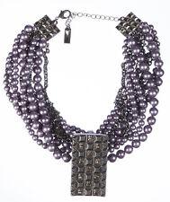Lia Sophia Faux Purple Pearl Torsade Necklace with Enhancer