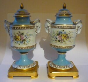 Tiche Capodimonte  2 Lidded Vases Urns Ram Head Handles Hand Painted With Stands
