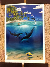 """Wyland hand signed """"Dreaming Of Paradise"""" Lithograph on Paper Dan Mackin Coa"""