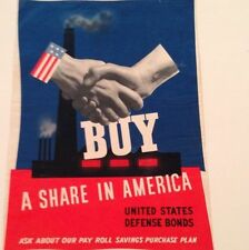 WWII Buy A Share In America Poster 1941 WW2 War Bonds John Atherton