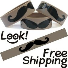 Moustache One Inch Bracelet Almost Handlebar Mustache Wristband Free Shipping