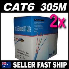 2x 305m Cat 6 Cat6  Blue Premium Solid Ethernet Network LAN Patch Cable