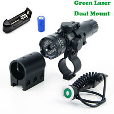 Tactical Hunting Rifle Green Laser Sight Dot Scope Adjust Mounts Sight + Battery