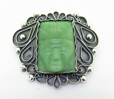 .Huge Decorative Carved Mexican Greenstone Face Sterling Silver Brooch 34.9g