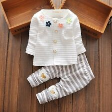 baby girls clothes outfits spring outfits flower cardigan& pants white 9-12M
