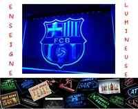 PANNEAU ENSEIGNE LUMINEUSE FC BARCELONE BARCA FOOTBALL BAR PUB CAFE NEON LAMPE