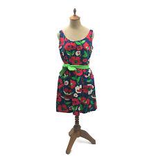 Vintage 1970s Lanz Original Women's Dress Floral Red Blue Pockets Buttons Med J2